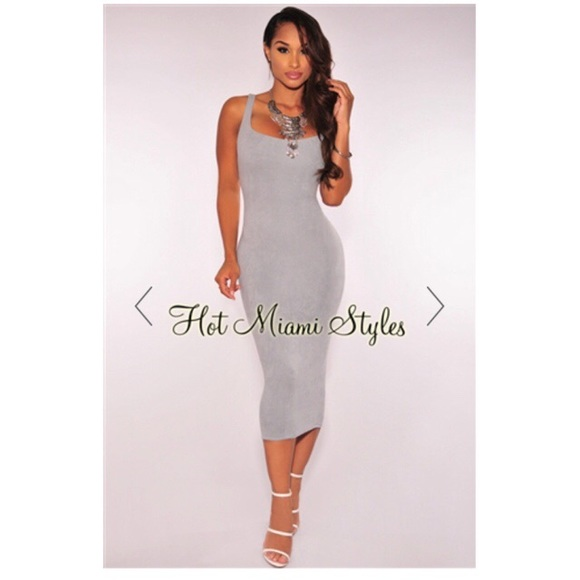 206f7c00 Hot Miami Styles Dresses | Faux Suede Ice Gray Dress | Poshmark